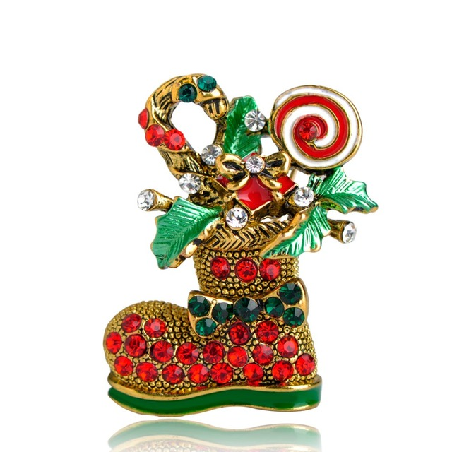vintage santa claus shoes shape brooches gold color enamel red crystal candy christmas gifts for kids - Candy Christmas Gifts