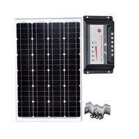 솔라 홈 키트 솔라 패널 60 w 12 v monocrystalline 솔라 배터리 충전기 솔라 pwm 컨트롤러 12 v/24 v 30a z 브래킷 캐러밴 캠프|태양광 셀|가전제품 -