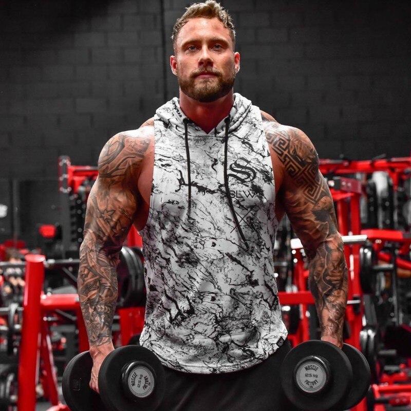 2018 Summer Newest Brand Mens Print Gyms Stringers Vest Bodybuilding Clothing Fitness Man Hooded   Tanks     Tops