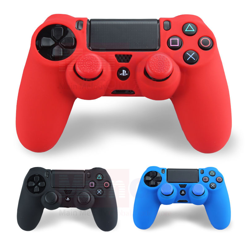 Soft Silicone Flexible Gel Rubber Skin Case Cover For Sony PS4 Controller Grip Cover + 2pcs Thumbstick JoyStick Silicone Caps