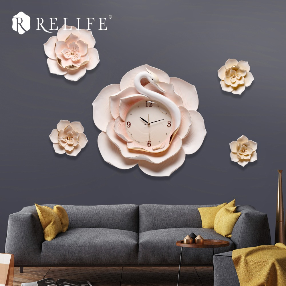 New Arrival Handmade 3D Wall Clock Sticker Modern Design for Living Room with DIY Flowers