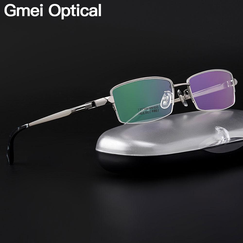 Gmei Optical Ultralight 100% Pure Titanium Half Rim Glasses Frame For Business Men Myopia Reading Prescription Spectacles LB6615
