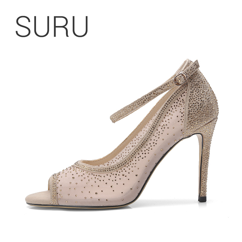 SURU Women Wedding Heels Crystal Embellished Nude Ballerina Peep Toe 4