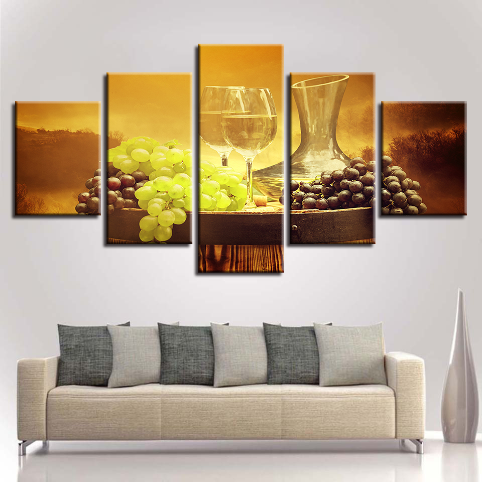 Canvas Posters Home Decor Wall Art HD Prints 5 Pieces Grape Wine ...