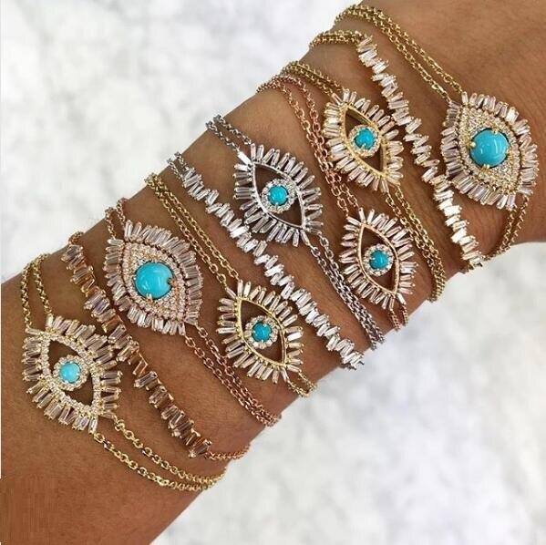 Baguette cubic zirconia CZ eye bracelet 3 color luxury Gorgeous women gift Turquoises Gem Shiny Chic evil eye jewelry