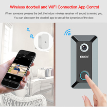 EKEN V6 wifi Doorbell Smart Wireless 720P video camera Cloud storage door bell cam waterproof home security house bell Gray