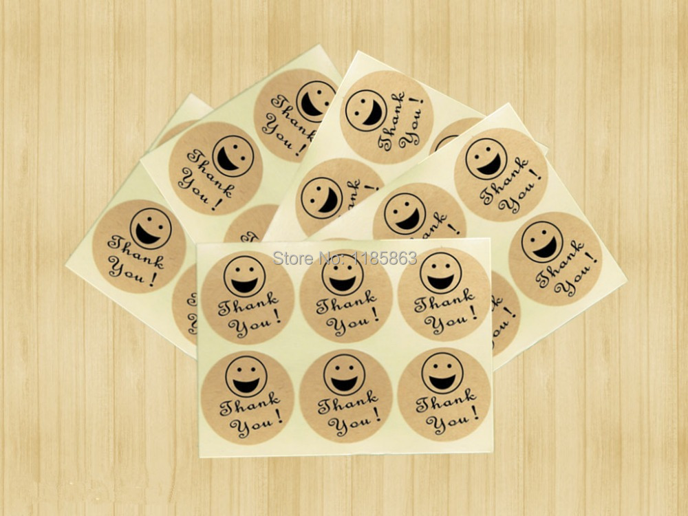 100pcs/lot Smiley Thank You Stickers Kraft Paper Adhesive Label For Baking Gift Packaging Bag Seal Round Sticker Free shipping