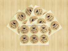 Купить с кэшбэком 100 pcs Smiley Thank You Stickers Kraft Paper Adhesive Label For Baking Gift Packaging Bag Seal 3CM Round Sticker Free shipping