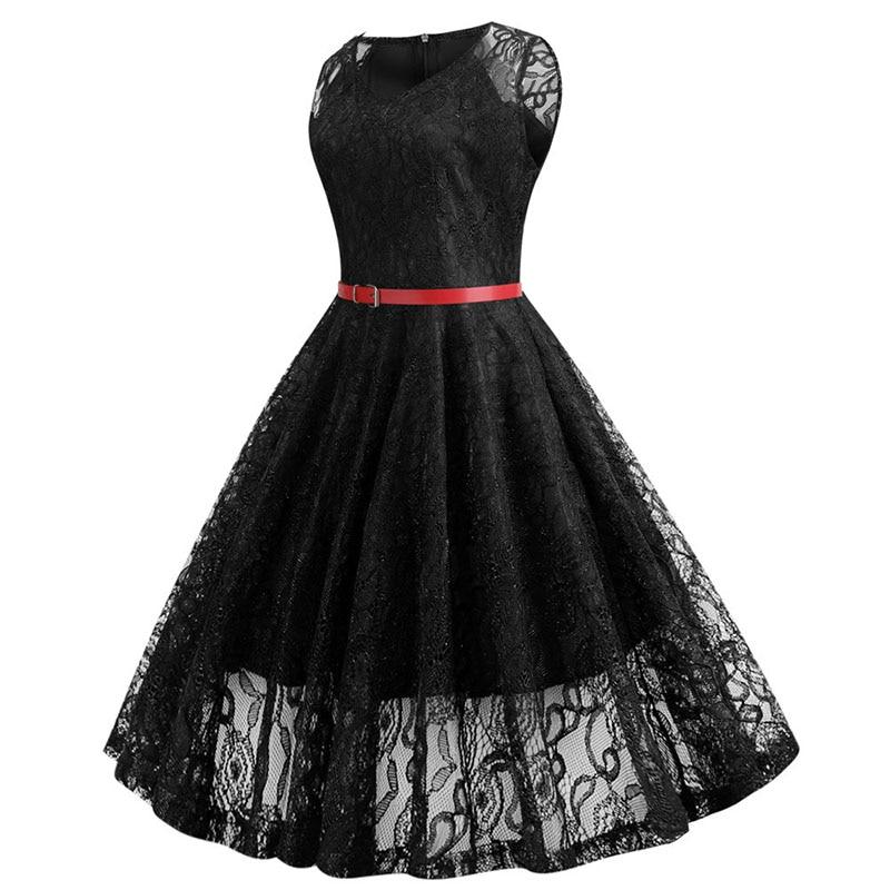 Black White Summer Lace Dress Plus Size Women Sleeveless Vintage Swing Elegant Red Midi Party Office Dress Robe Femme Vestidos 2