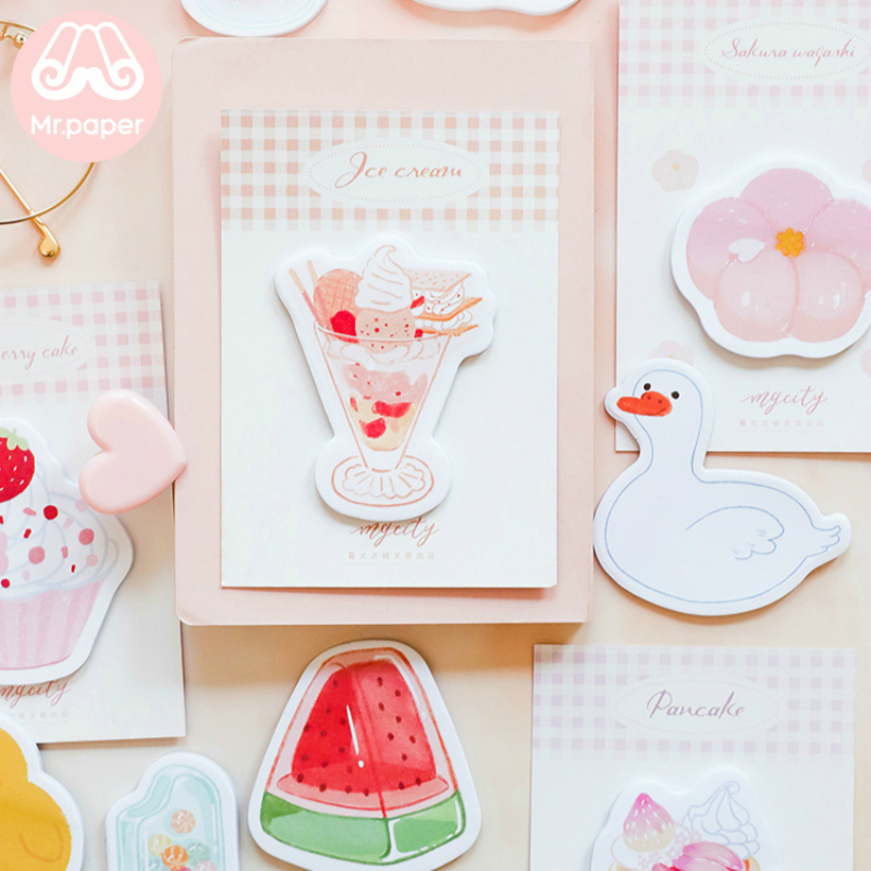 Mr Paper 30pcs/lot 10 Designs Summer Ice Cream Memo Pad Sticky Notes Notepad Diary Creative Stationery Self-Stick Note Memo Pads