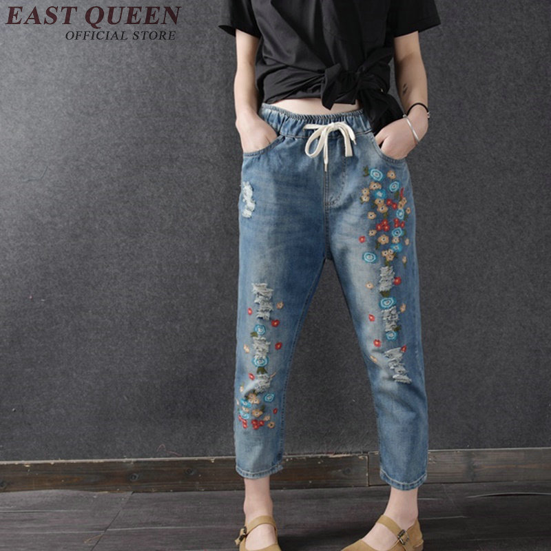 Embroidery jeans women summer pants vintage flower embroidery harem pants ankle length straight jeans denim pants AA2620 YQ summer vintage women lace hole jeans high waist floral embroidery fashion ankle length cross pants women denim jeans harem pants