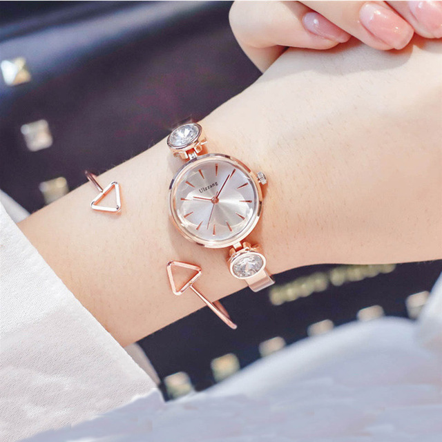 Fashion Rose Gold Lady Wristwatch Rhinestone Minimalism Luxury Women Bracelet Wa