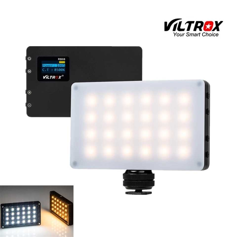 Viltrox RB08 Bi-color 2500K-8500K Mini Video LED Light Portable Fill Light Built-in Battery for Phone Camera YouTube live