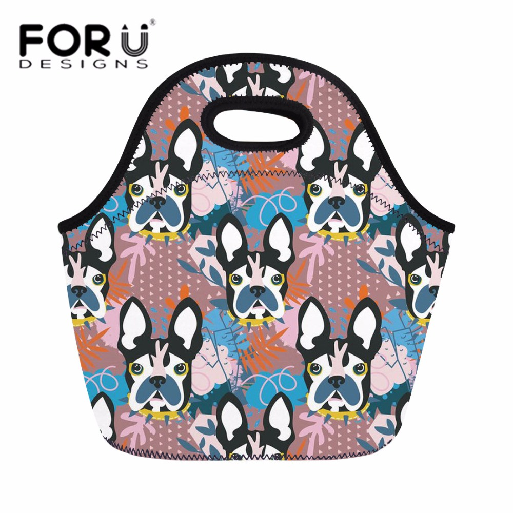 FORUDESIGNS French Bulldog 3D Printing Lunch Bag for Women Girls Kids Thermal Neoprene Lunch Bags Storage Ladies Cute Hand Tote