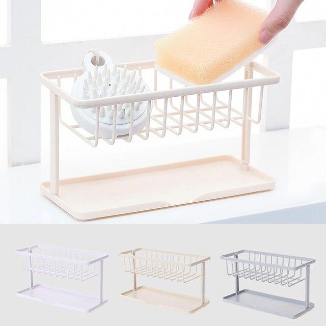 1 PC Plástico Pia Da Cozinha Esponja Titular Rack de Acessórios Do Banheiro Da Cozinha Multifuncional Prato Dreno Sabão Escova De Armazenamento Organizador