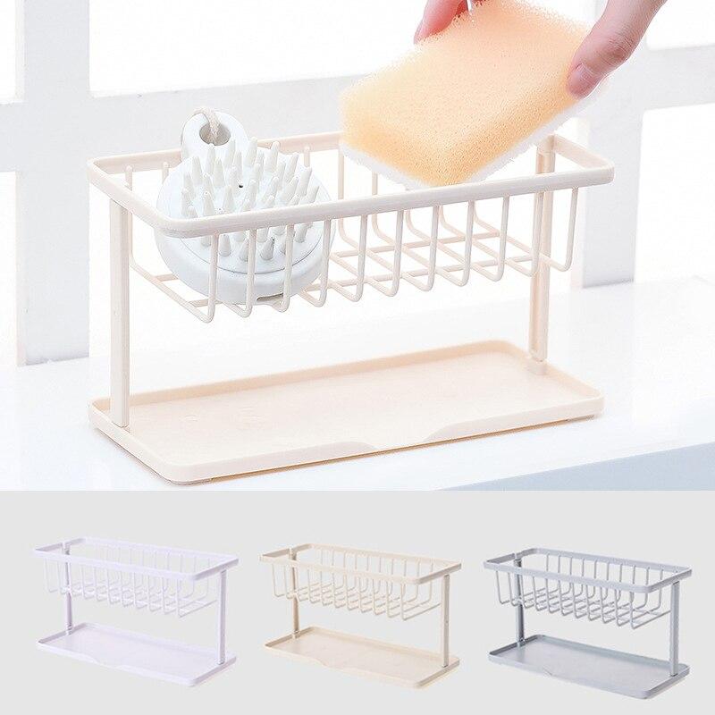 US $2.47 35% OFF|1PC Plastic Kitchen Sink Sponge Holder Rack Kitchen  Bathroom Accessories Multifunction Dish Drain Soap Brush Storage  Organizer-in ...