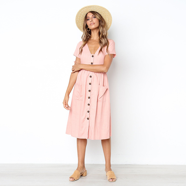 Lossky Sexy Women's Summer Dresses 2018 Fashion V-NeckButtons Wild Pockets Short-Sleeved Women's Dress Summer Loose Midi Dress