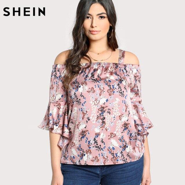 Шеин розовый цветочный плюс Размеры Для женщин блузка с открытыми плечами Трубы рукавом ботанический Топ и блузка летние каникулы блузка с рюшами