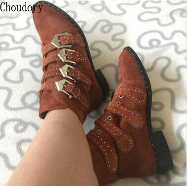Factory Designer Shoes Women Studded Ankle Boots Tan Army Green Suede Botas Leather Buckled Motorcycle Booties Size 33-44