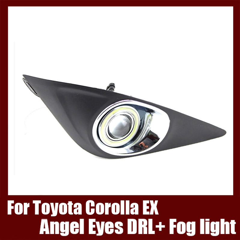 For Toyota Corolla EX 2013 COB Angel Eyes DRL with Fog lights Projector Lens Lamp Bumper Cover brand new superb led cob angel eyes hid lamp projector lens foglights for toyota corolla ex 2013