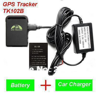 2016 New Arrival GPS Tracker TK102B + Car charger + Battery+Retail box, Free Shipping