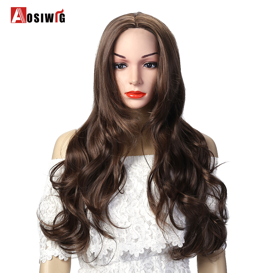 AOSIWIG 3 Colors Long Wavy Curly Wigs Halloween Party Wigs Heat Resistant Synthetic Hair For Black Women