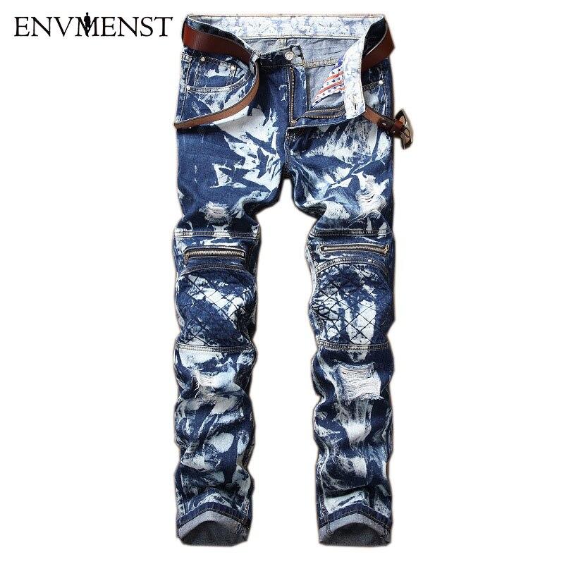 2017 Envmenst New Snow wash Designed Mens Blue White Jeans Casual Distressed Zipper Hi-street Style Mens Denim Pants 42 Size