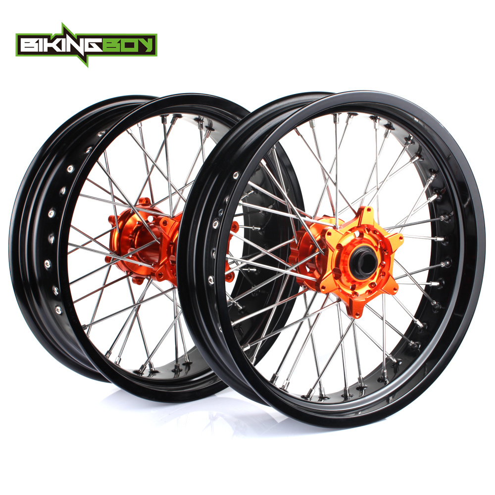 BIKINGBOY 3.5 4.25 Supermoto Front Rear Wheels Rim Hub Set For KTM SX 125 150 250 XC 250 300 SX F 250 350 450 XC F 250 350 450