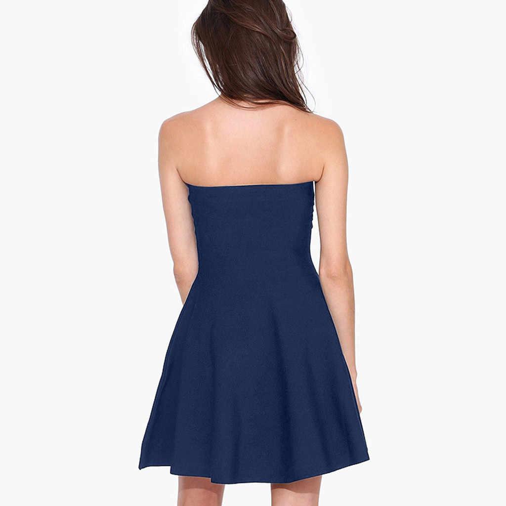Женское летнее сексуальное однотонное пляжное мини-платье с открытой спиной, с высокой эластичной резинкой на талии, винтажное платье vestidos mujer 2019