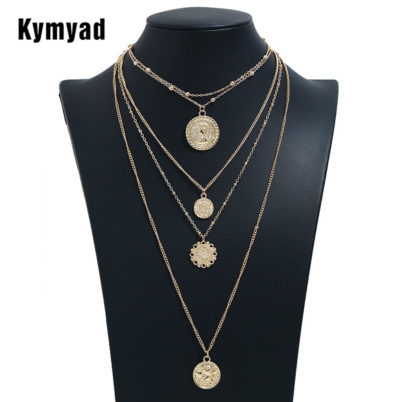 Kymyad Long Necklace Women round Necklaces Pendants For Ladies Costume Jewelry Bijoux Gold Color Multilayer Chain Necklaces