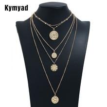 цена на Kymyad Long Necklace Women round Necklaces & Pendants For Ladies Costume Jewelry Bijoux Gold Color Multilayer Chain Necklaces