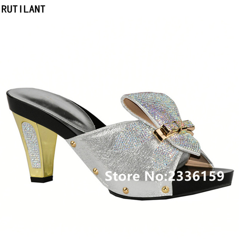 Ladies Sexy Low Heels Women Pumps Slip on Women Summer Slipper Shoes Decorated with Rhinestone Ladies Party Shoes Diamonds Shoe