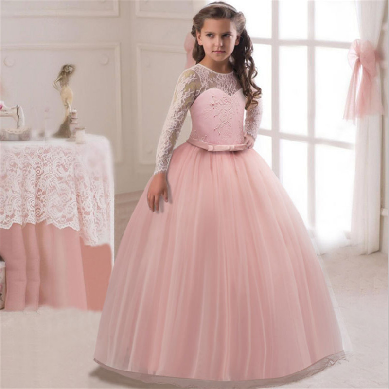 baby girl white Long Sleeve lace party evening dress grils 2018 mesh belle Princess dress kids ball gown frocks free shipping цены онлайн