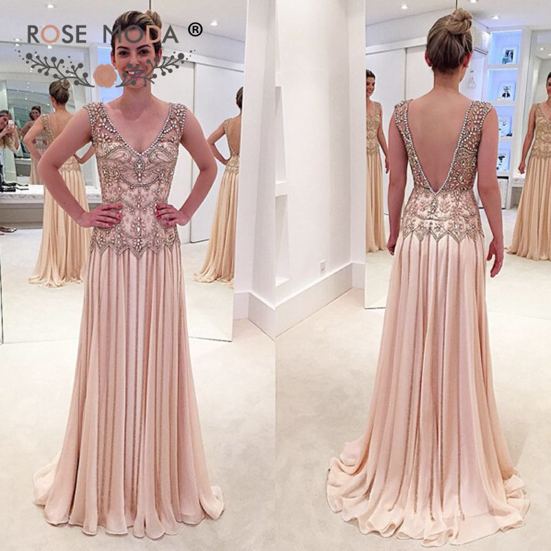Rose Moda V Neck Heavily Crystal Beaded Floor Length   Evening     Dress   Backless Formal Party   Dress