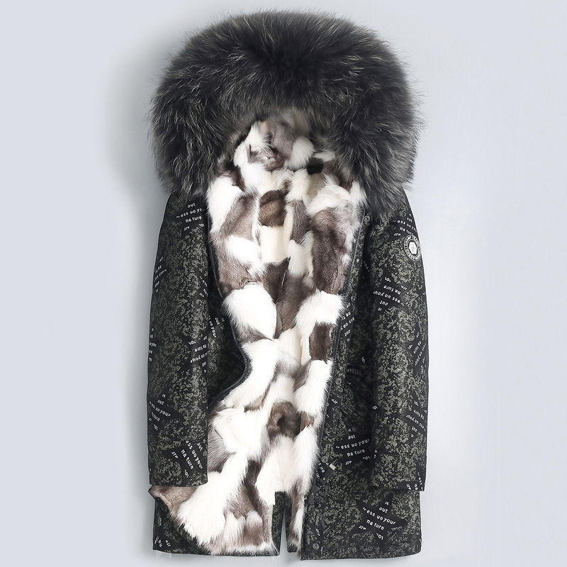 2019 New Fox Fur Liner Sheep Fur One Genuine Leather Coat Big Raccoon Fur Collar Sheepskin Leather Jacket Men Printing Design