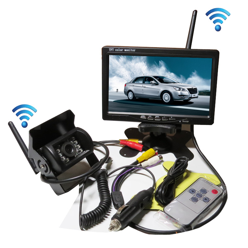 FREE SHIPPING 12-24V DC Wireless Back-up Reversing Camera System Kit + 7 Rear View LCD Monitor For Truck Bus Van Trailer diykit wired 12v 24v dc 9 car monitor rear view kit backup waterproof ccd camera system kit for bus horse trailer motorhome