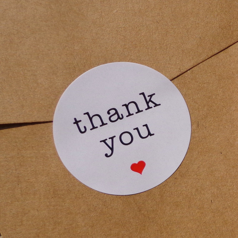 102pcs Thank You With Red Heart Kraft Paper Sticker Scrapbooking Gift Sticker, DIY Self-adhesive Seal Sticker Dia.3.8cm