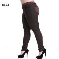TUHAO High waist women 2017 autumn Winter warm velvet office work pencil pants plus size 6XL formal trousers pantalon YBFS