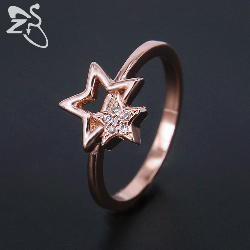 ZS Double Star Ring for Girls Children Bagues Rose Gold Color Paved with Cubic Zirconia Crystal Ring female Jewelry Gifts
