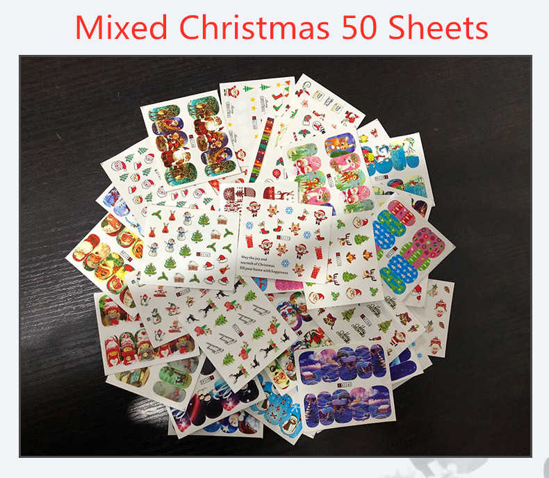 50Sheets Christmas Pattern for Nail Water Transfer Sticker 3D Halloween Flower Glitter Animal Design Nail Art Transfer Foils