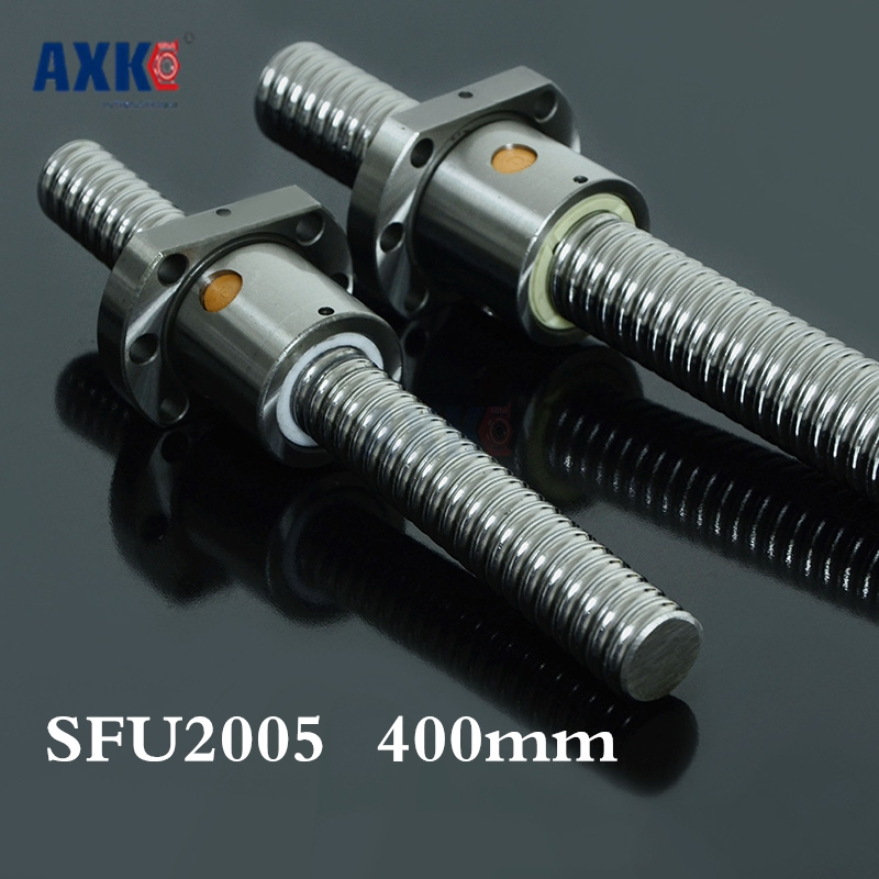 Axk New 20mm Sfu2005 400mm Ball Screw Rolled Ballscrew Sfu2005 400mm With Single 2005 Flange Ballnut For Cnc Part tbi ball screw 2005 c7 1000mm with 5mm lead without flange ballnut bsh2005 for cnc kit backlash