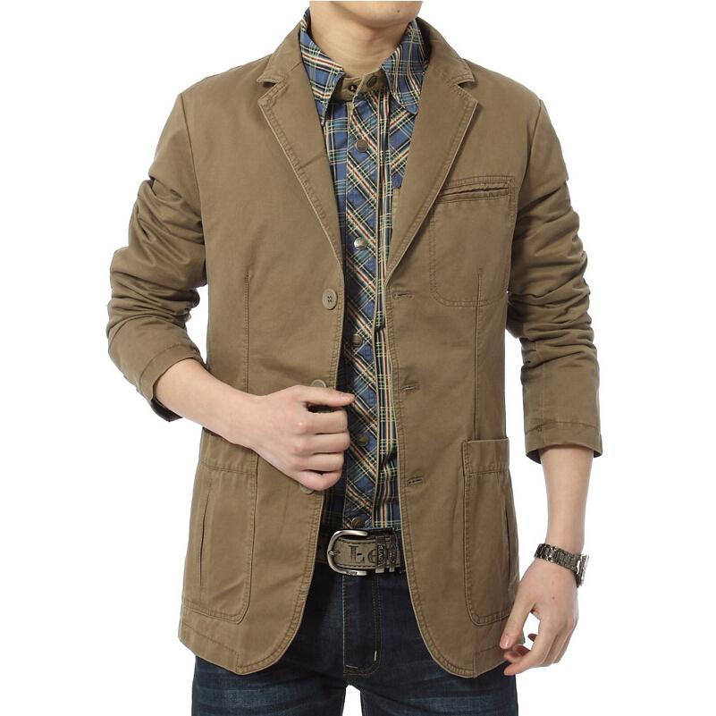 Blazer Men Jackets Coat Slim-Fit Green Army Men's Large-Size Casual Cotton Denim 4XL
