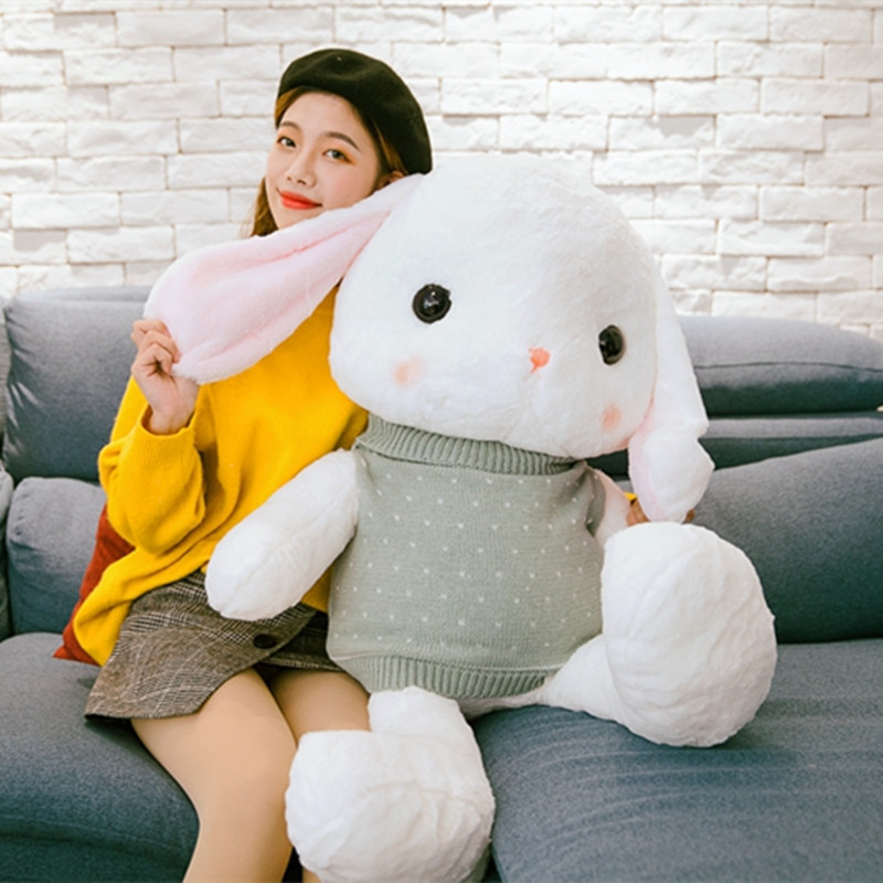 Big Lop Rabbits with Sweaters Plush Doll Toys Cute Bunny Doll Stuffed Soft Animal Rabbits Appease Baby Pillow Children Kid Gift