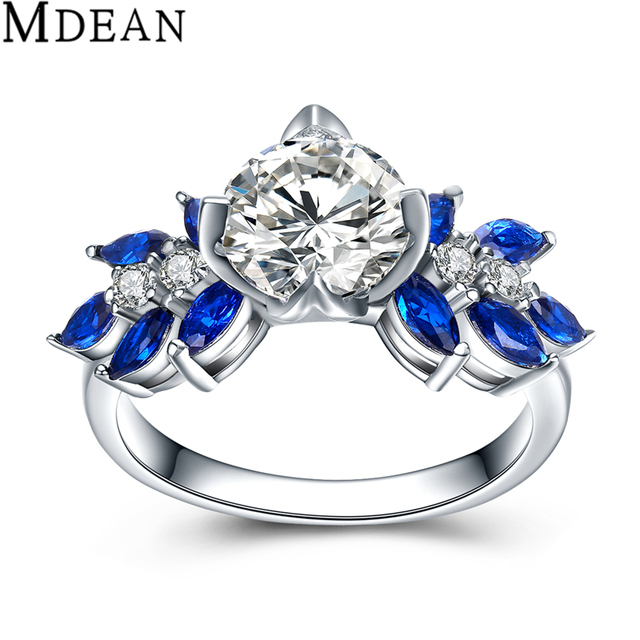 MDEAN Sapphire Jewelry Pure 925 Sterling Silver Solid Genuine CZ Diamond Wedding Rings for Women Engagement Bague MSR464
