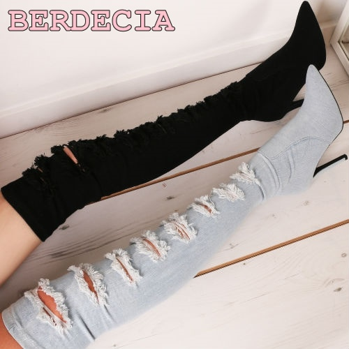 Newest pointed toe light blue denim high heels boots woman sexy thigh high boots cut-outs gladiator boots 2017 thin heels boots newest pointed toe light blue denim high heels boots woman sexy thigh high boots cut outs gladiator boots 2017 thin heels boots