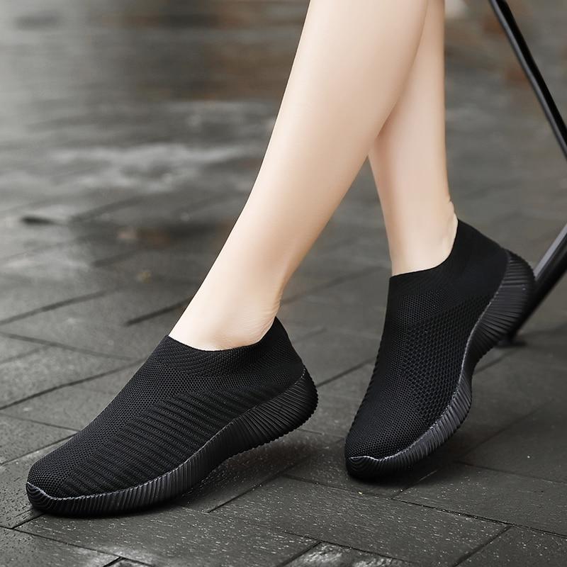 2019 Autumn Shoes Women Sneakers Slip On Flat Women Black Pink Women Shoes Plus Size Loafers Walking Flat