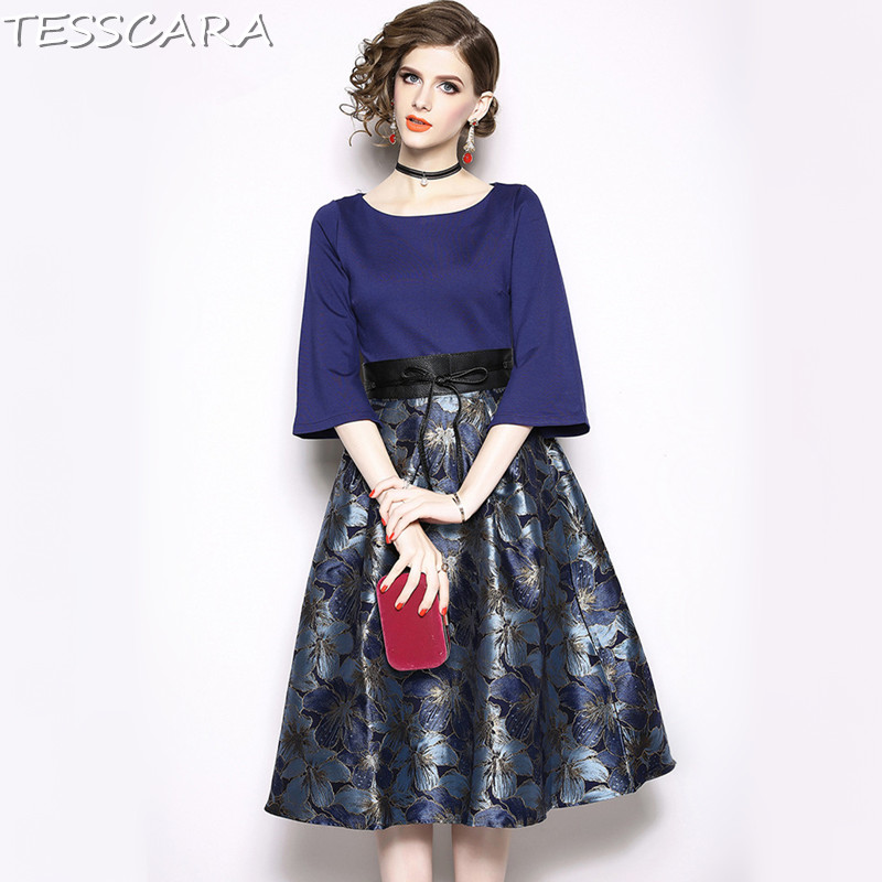 Qualité Bureau Femmes A ligne Supérieure Longue Designer Parti Blue Femme Jacquard Tesscara Robes Élégante Robe Vintage Festa 8On0kwPX