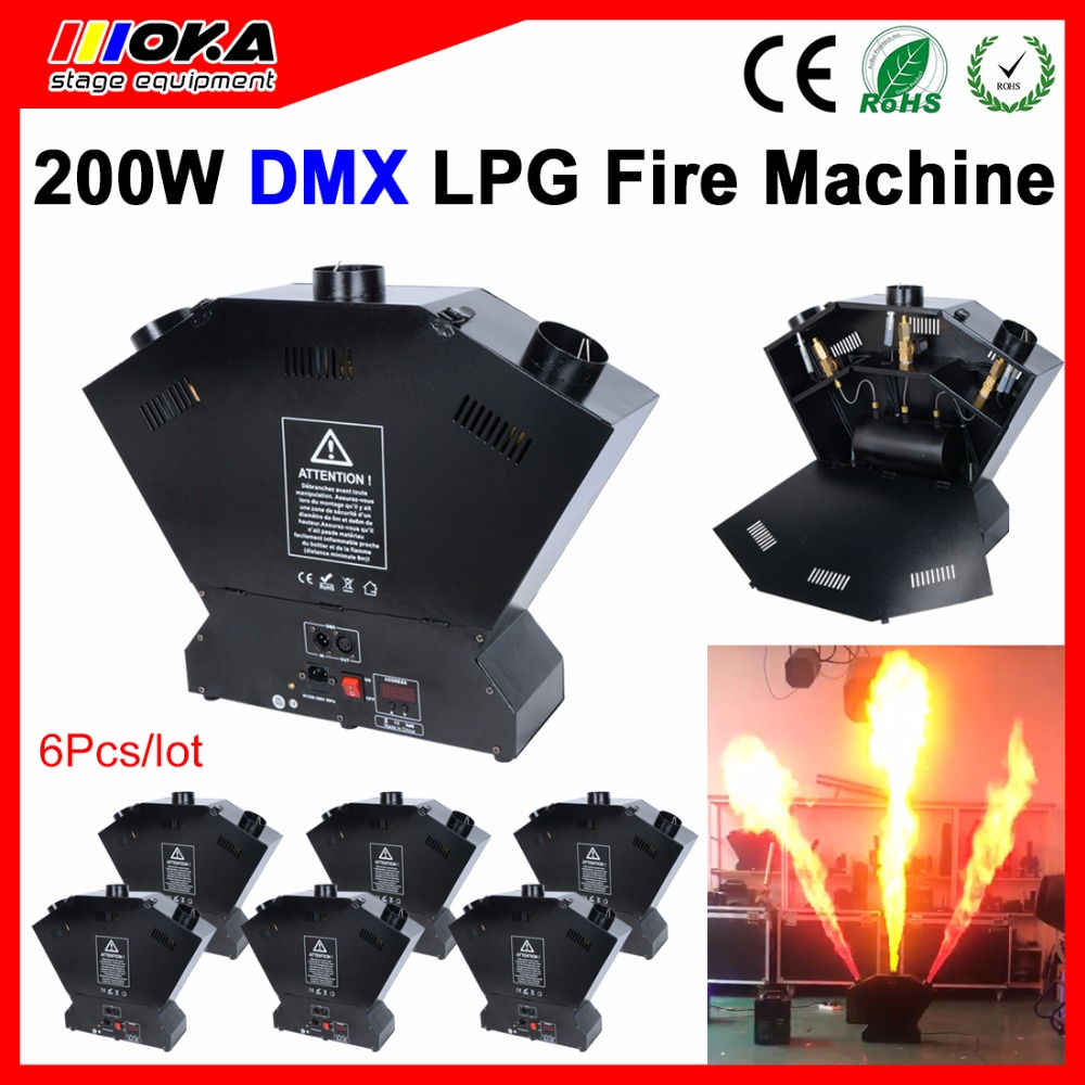 цена на 6 Pcs/lot DMX fire machine spray lpg flame machine Flame Projector Safe to Use 3 Shot Gas DMX 512 stage effect machine