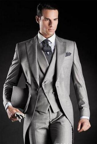 2016 New Long Design Gray Black Groom Tuxedos Groomsmen 2015 Morning Style Men Wedding Suits Prom/Formal/Bridegroom Suit