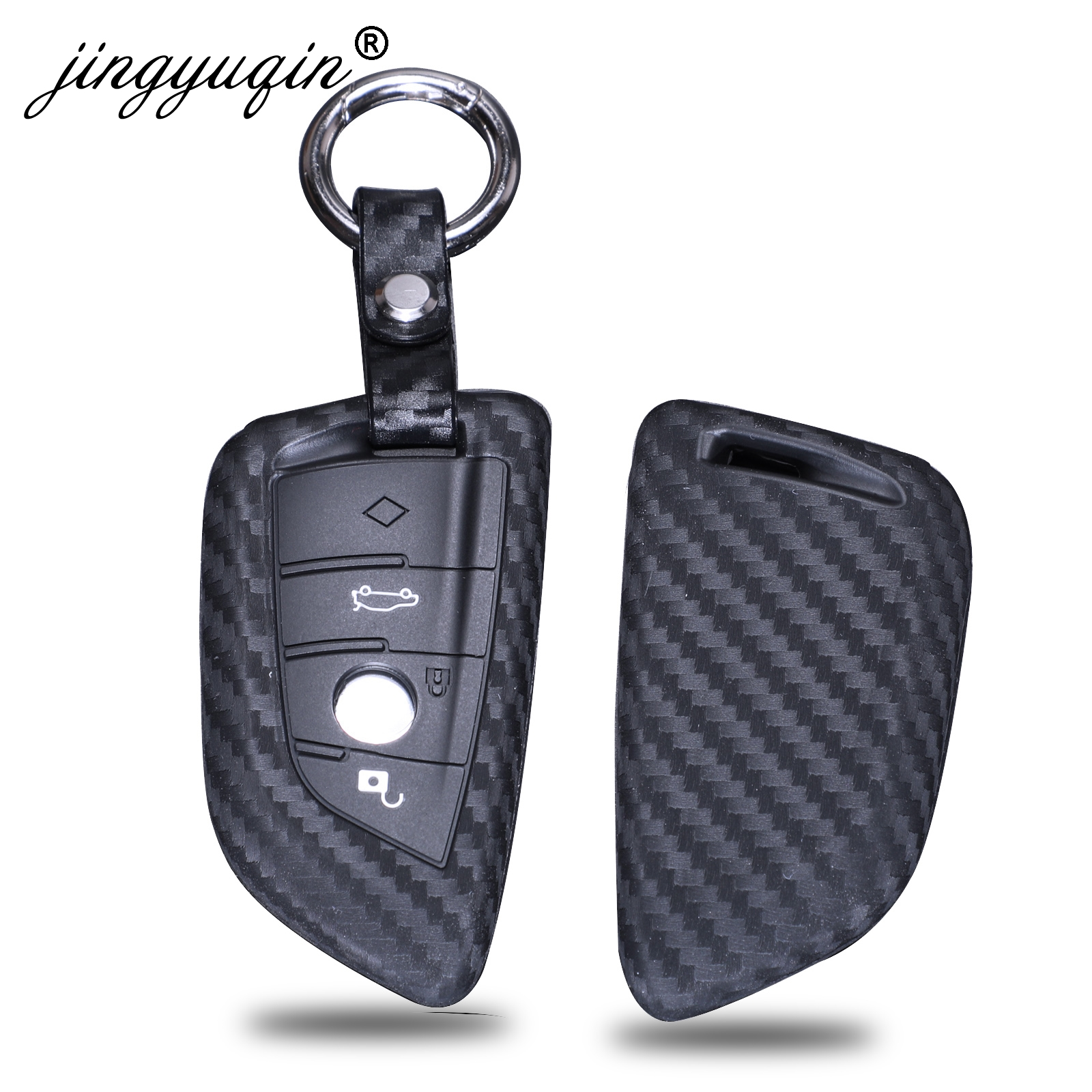 Jingyuqin New Carbon Silicone Car Key Cover Wallet For BMW X5 X6 F16 F15 5 Series 2014- Smart Remote Car Keychain Fob Full Case